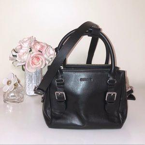 RUDSAK Black Leather Crossbody Top Handle Purse